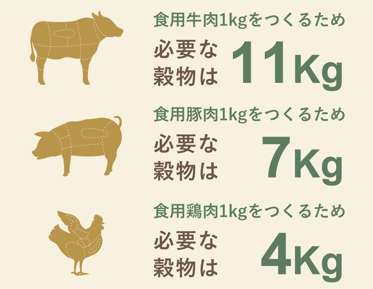 お肉を作るには、大量の作物が必要