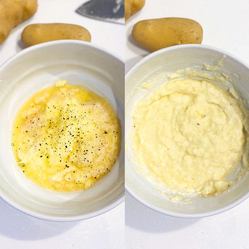 小麦粉と塩コショウ、パプリカパウダーを加え、全体を混ぜる。