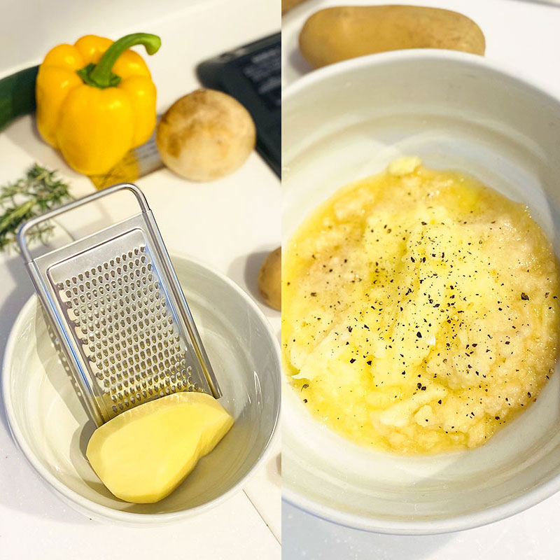 Peel and finely grate the potatoes into a large bowl. Add a little bit of salt and pepper.