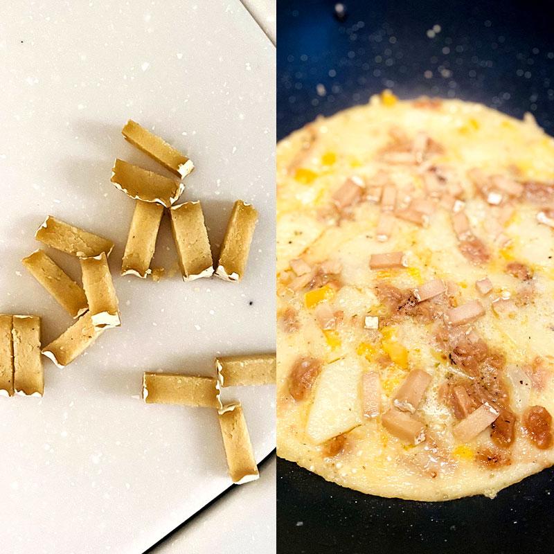 生地を焼き始めてから約5分後に、1口サイズに切ったヴィーガンチーズを全体に散らす。蓋をして、残り15分ほど焼く。